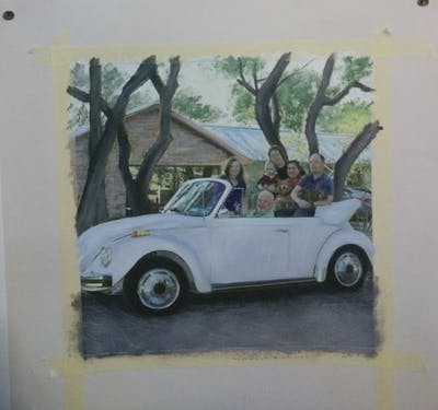 A painting of car, motor vehicle, vehicle, volkswagen beetle, automotive design, subcompact car, classic car, automotive exterior, city car, volkswagen