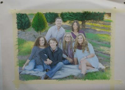 A painting of people, social group, photograph, tree, family, plant, friendship, fun, sitting, grass