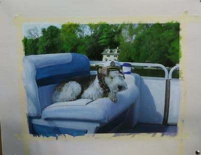 A painting of vehicle, mammal, car, dog, dog like mammal, boat, automotive exterior