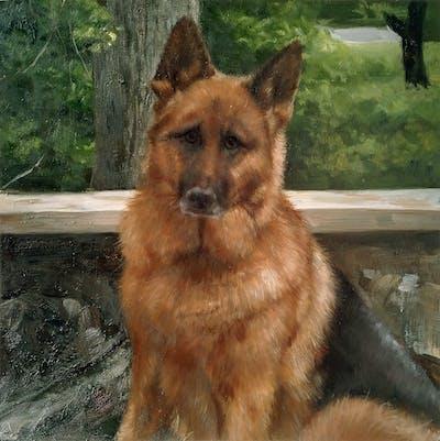 A painting of dog, dog like mammal, dog breed, german shepherd dog, kunming wolfdog, dog breed group, old german shepherd dog, king shepherd, belgian shepherd malinois, snout