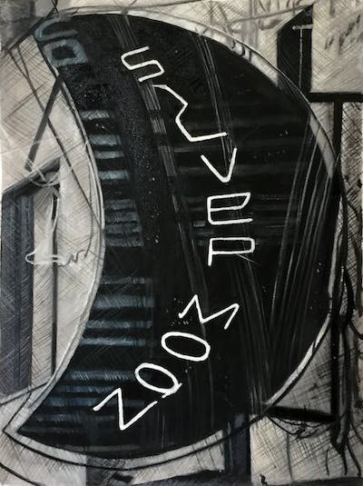 A painting of font, product design, black and white