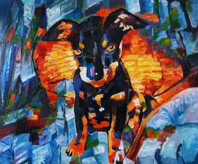 A painting of dog, dog like mammal, dog breed, dog breed group, lancashire heeler, puppy, black and tan terrier, pinscher, vulnerable native breeds, pražský krysařík