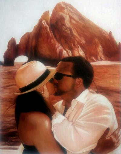 A painting of romance, interaction, vacation, love, kiss, landscape, girl, fun