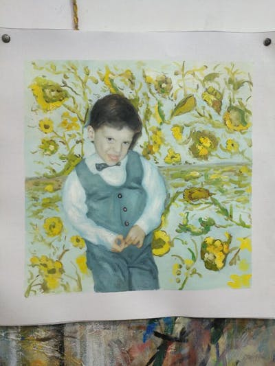 A painting of green, flower, child, boy, plant, smile, girl, toddler, vintage clothing, infant