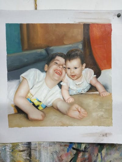 A painting of child, people, skin, facial expression, day, sitting, boy, infant, girl, smile