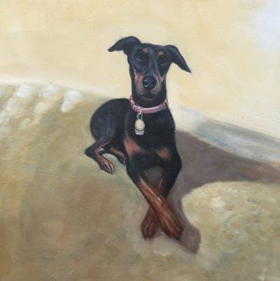 A painting of dog, dog breed, pinscher, dobermann, manchester terrier, dog like mammal, guard dog, snout, german pinscher, toy manchester terrier
