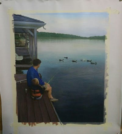 A painting of water, lake, angling, boat, reservoir, hobby, boats and boating equipment and supplies, loch, boating, recreation