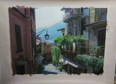 A painting of town, neighbourhood, street, alley, infrastructure, road, city, house, balcony, tree