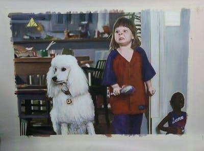 A painting of dog, dog like mammal, mammal, dog breed, vertebrate, dog breed group, conformation show, carnivoran, companion dog, poodle