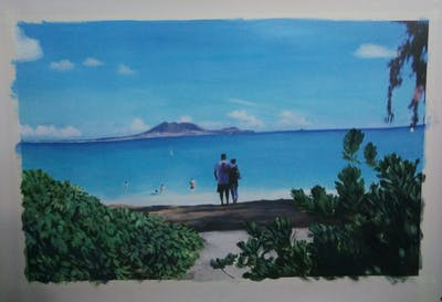A painting of body of water, beach, sea, coastal and oceanic landforms, caribbean, sky, tropics, shore, coast, tourism