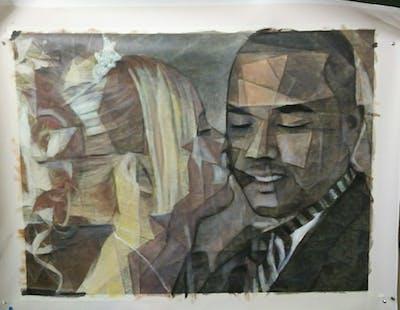 A painting of hair, photograph, man, bride, human hair color, hairstyle, bridal clothing, veil, forehead, groom