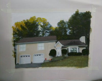 A painting of home, property, house, cottage, real estate, roof, estate, tree, facade, siding