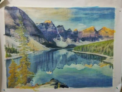 A painting of nature, reflection, wilderness, painting, mountain, mount scenery, watercolor paint, lake, national park, tarn