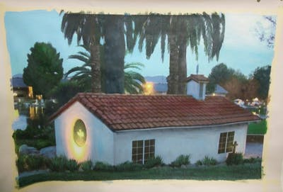 A painting of property, home, lighting, cottage, house, real estate, hacienda, roof, evening, tree