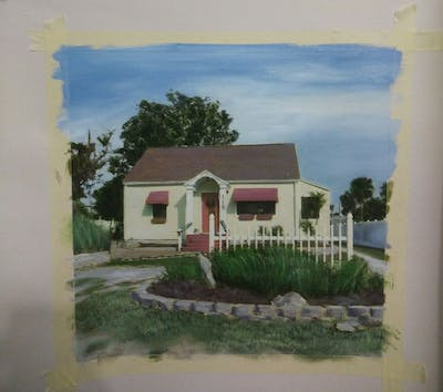 A painting of property, house, home, cottage, real estate, residential area, estate, farmhouse, landscape, facade
