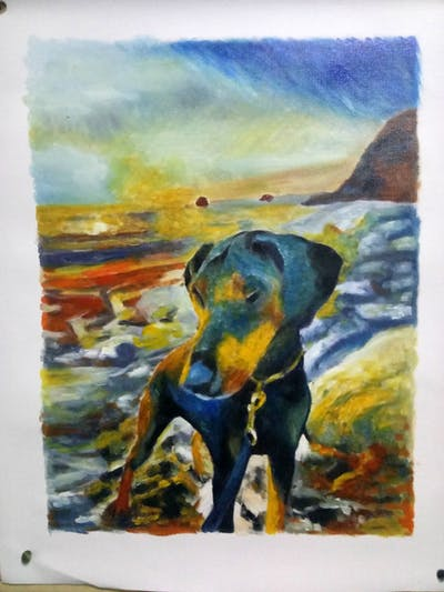 A painting of dog, sky, dog like mammal, sunset, beach, sand, sunlight, snout, sunrise, evening