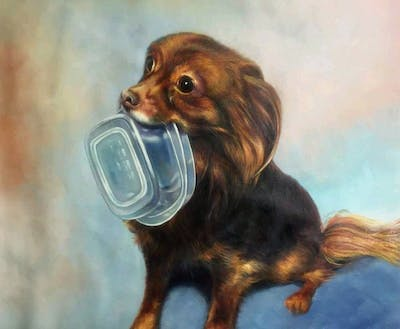 A painting of dog, dog like mammal, dog breed, dog breed group, carnivoran, puppy, companion dog, dog crossbreeds