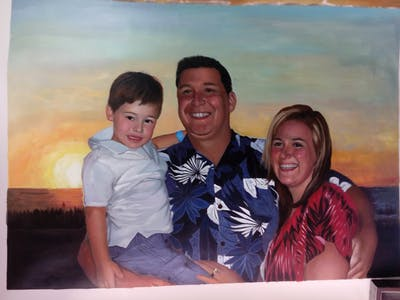 A painting of people, facial expression, vacation, fun, smile, emotion, male, sky, family, summer
