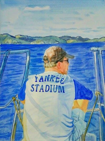 A painting of water, water transportation, sea, ocean, sky, fishing, screenshot, line, boat, energy