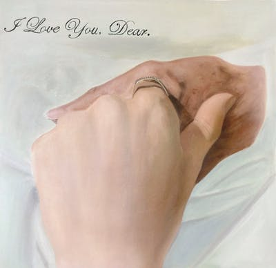 A painting of hand, finger, close up, neck, ring, joint, jewellery