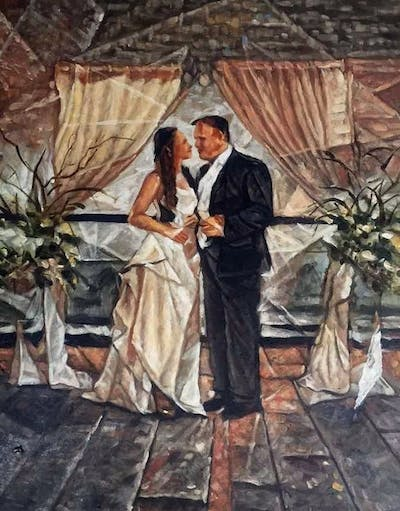 A painting of photograph, bride, gown, wedding, wedding dress, ceremony, dress, bridal clothing, groom, event