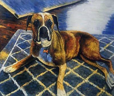 A painting of dog, boxer, dog breed, dog like mammal, dog breed group, snout, valley bulldog, carnivoran, dog crossbreeds