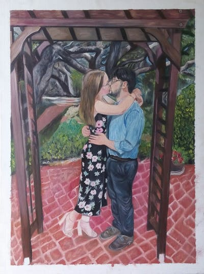 A painting of photograph, ceremony, girl, interaction, flower, backyard, tree, fun, plant, garden