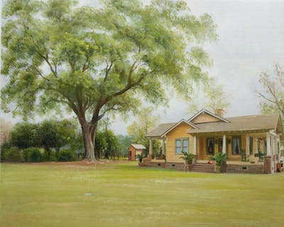 A painting of home, property, house, tree, estate, farmhouse, real estate, cottage, plantation, plant