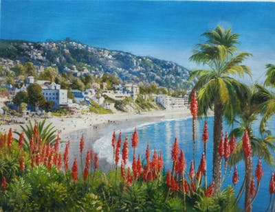 A painting of resort, tourism, tree, palm tree, sky, leisure, arecales, vacation, coast, water