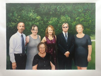 A painting of social group, formal wear, family, ceremony, socialite, tree, fun, event, wedding, smile