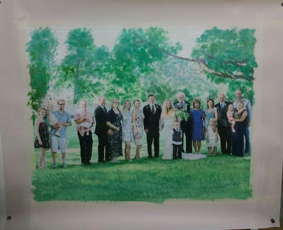 A painting of photograph, social group, ceremony, wedding, woodland, event, tradition, backyard, tree, groom