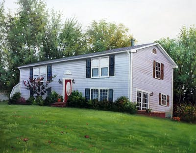 A painting of home, house, property, siding, cottage, real estate, farmhouse, yard, residential area, estate