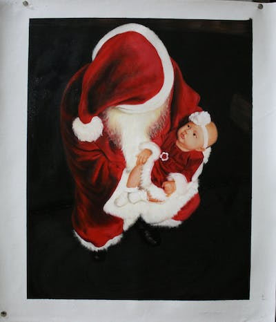 A painting of santa claus, fictional character, christmas ornament