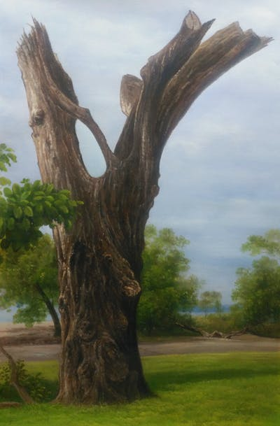 A painting of tree, woody plant, plant, trunk, branch, grass, wood, sculpture