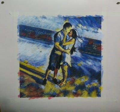 A painting of photograph, beach, vacation, sea, fun, shoulder, romance, summer, sky, leg