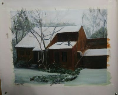 A painting of snow, winter, home, house, property, cottage, tree, log cabin, sugar house, hut