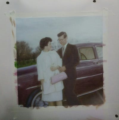 A painting of car, photograph, motor vehicle, vehicle, suit, standing, snapshot, shoulder, family car, vintage clothing