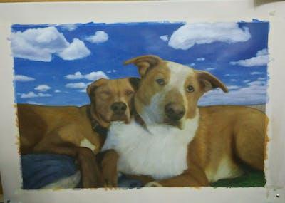 A painting of dog, dog breed, dog breed group, snout, street dog, dog crossbreeds, dog like mammal, sporting group, potcake dog