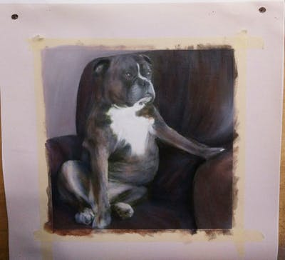 A painting of dog, dog breed, dog like mammal, boxer, dog breed group, olde english bulldogge, snout, valley bulldog, old english bulldog, carnivoran