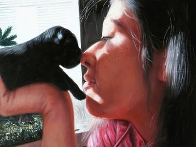 A painting of skin, nose, vertebrate, girl, ear, black hair, mouth, interaction, arm, fun