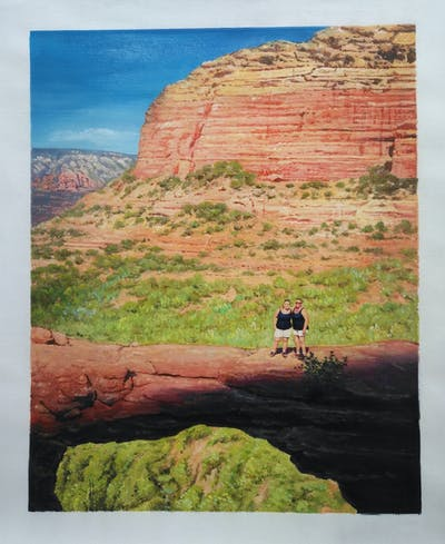 A painting of rock, badlands, nature, sky, wilderness, canyon, national park, formation, geology, escarpment