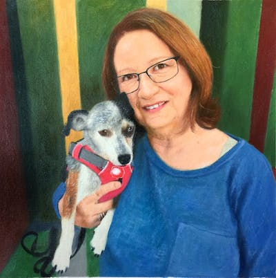 A painting of dog, skin, mammal, glasses, vertebrate, dog like mammal, vision care, dog breed, smile, fun