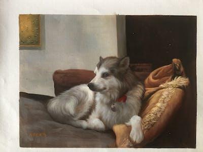 A painting of dog, dog like mammal, alaskan malamute, dog breed, sakhalin husky, dog breed group, siberian husky, native american indian dog, tamaskan dog, northern inuit dog