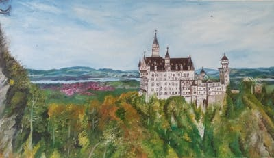 A painting of landmark, sky, château, building, tree, castle, mountain range, tourist attraction, mountain, city