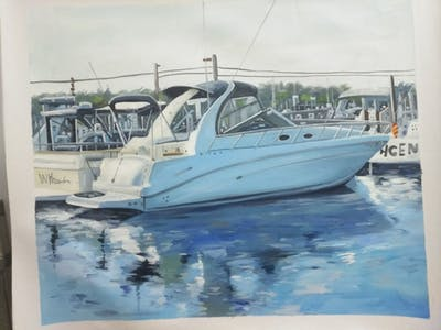 A painting of boat, ecosystem, motorboat, water transportation, picnic boat, watercraft, boating, plant community, whaler, motor ship