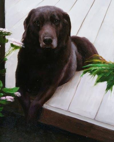 A painting of dog, labrador retriever, dog breed, dog like mammal, borador, retriever, snout, sporting group, dog breed group