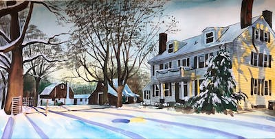 A painting of winter, snow, home, neighbourhood, town, property, house, residential area, tree, building
