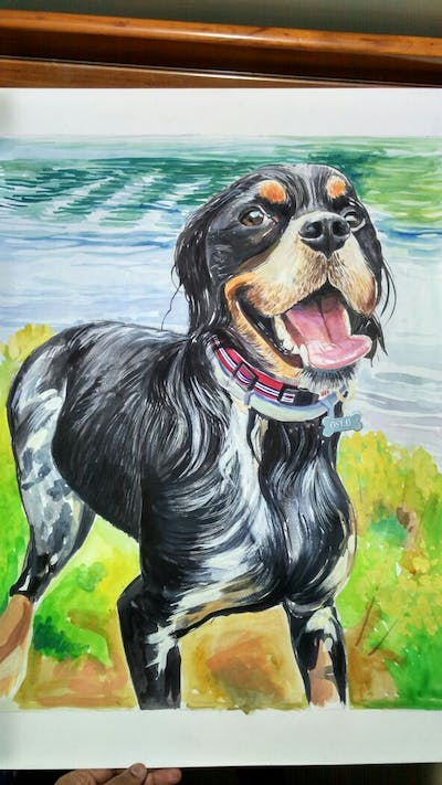 A painting of dog, dog breed, dog like mammal, snout, spaniel, companion dog, cavalier king charles spaniel, carnivoran, dog crossbreeds