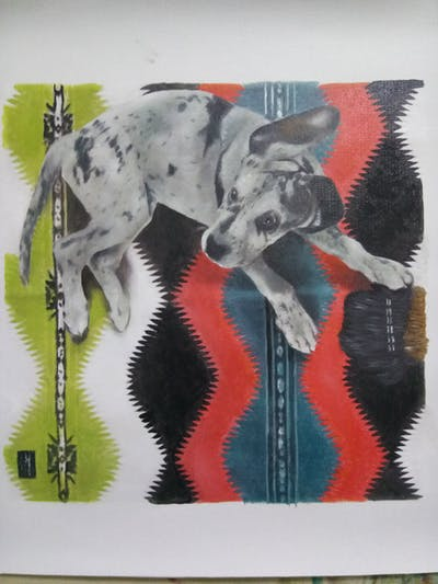 A painting of fauna, dog, dog like mammal, art, painting, great dane, dalmatian, paint, carnivoran
