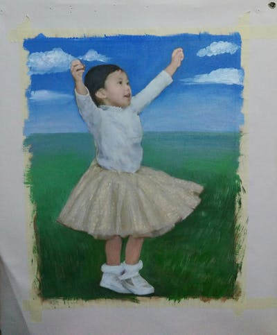 A painting of child, girl, performing arts, standing, dance, dancer, ballet tutu, costume, flooring, shoe